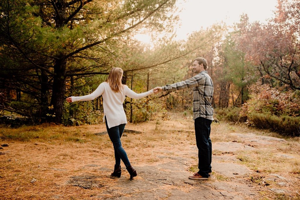 Adventurous & Fun Engagements session at Interstate State Park, Wisconsin // Dancing