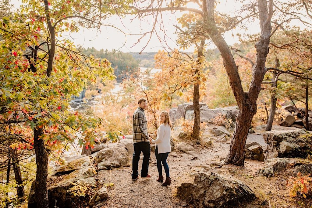 Adventurous & Fun Engagements session at Interstate State Park, Wisconsin // Playfully walk away