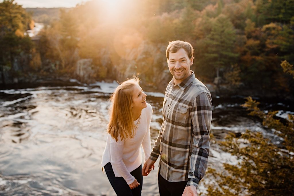 Adventurous & Fun Engagements session at Interstate State Park, Wisconsin // Playfull couple