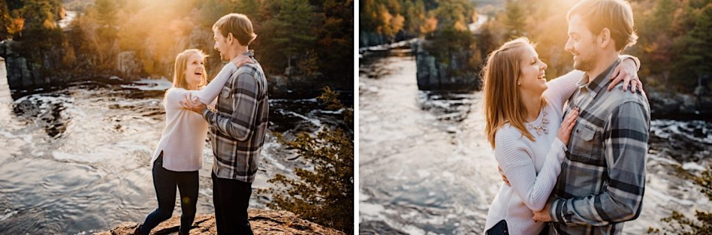 Adventurous & Fun Engagements session at Interstate State Park, Wisconsin // Playful Couple