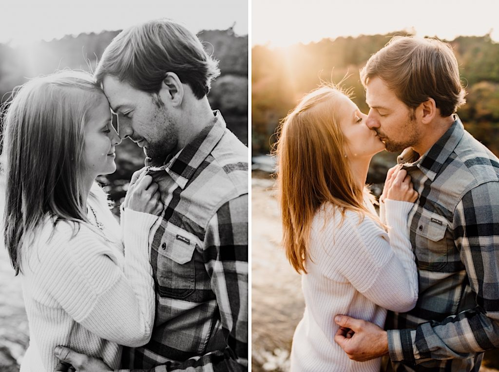 Adventurous & Fun Engagements session at Interstate State Park, Wisconsin // Romantic Portraits // Breathe her in & kiss