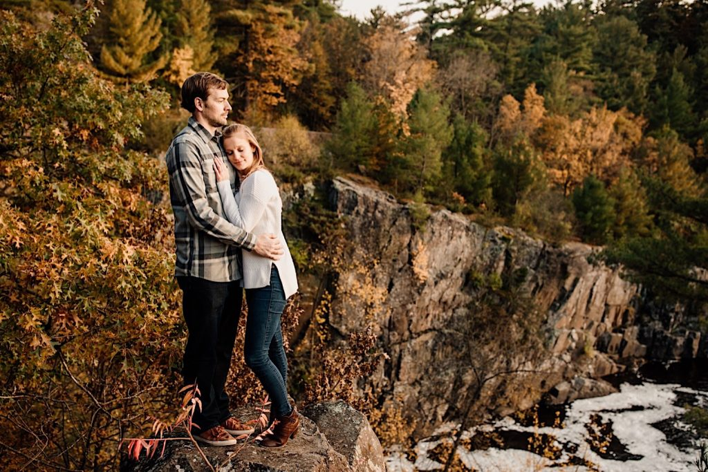 Adventurous & Fun Engagements session at Interstate State Park, Wisconsin // Warm Embrace