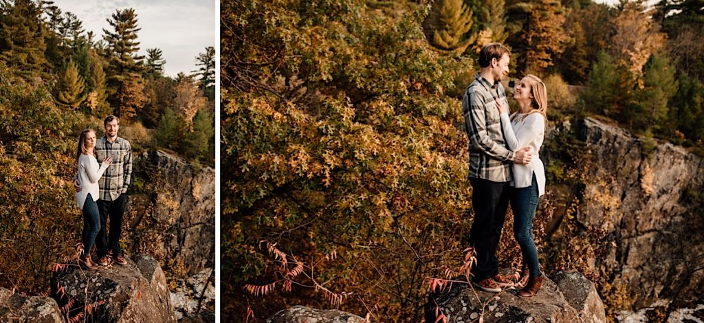 Adventurous & Fun Engagements session at Interstate State Park, Wisconsin // Overlook Embrace