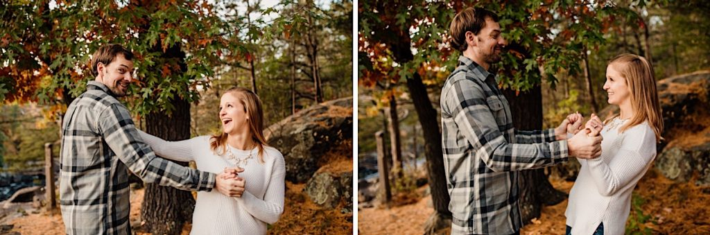 Adventurous & Fun Engagements session at Interstate State Park, Wisconsin // The Push & Pull