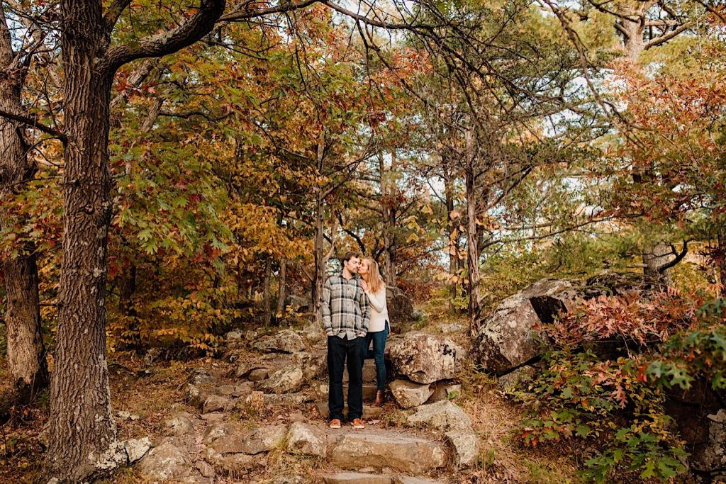 Adventurous & Fun Engagements session at Interstate State Park, Wisconsin // Wide shot of autumn leaves